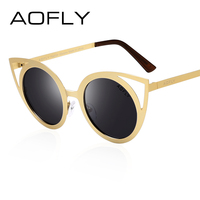 AOFLY Cat Eye Women Polarized Sunglasses Metal Frame Original Brand Sunglasses Fashion Designer Round Polaroid Lens