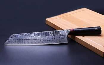 TUO Cutlery Kirisuke มีด - Japnaese ดามัสกัส AUS-10 HC สแตนเลสสตีลมีด Nakiri - Ergonomic G10 Handle - 8.5\'\'