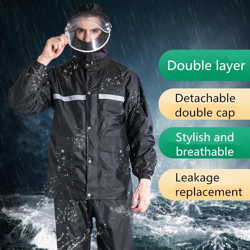 Imperméable pantalon de pluie costume hommes épais étanche corps moto split adulte randonnée équitation imperméable amovible double casquette