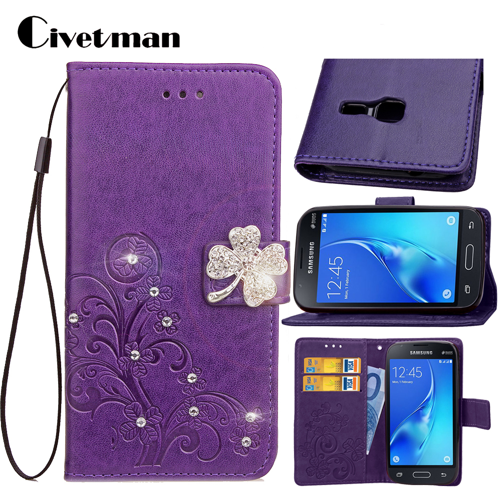 Cover Phone Case For Samsung Galaxy J1 Mini 2016 SM J105 J105H J1 Nxt Duos 4 PU Leather Shell Clover Diamond Holster Bag Stand