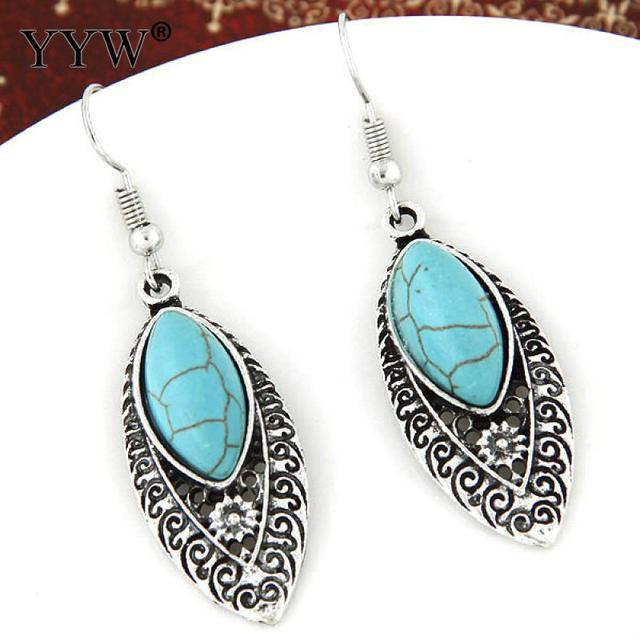 8361ae38d14e Yyw mujeres étnicas joyas antiguo plata color negro vena turquesa piedra  pendiente vintage caballo ojo cuelga