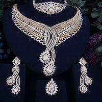 GODKI 93mm Super Luxury LeavesWomen Wedding Cubic Zirconia 4pcs Necklace Earring Ring Bangle Dubai Jewelry Set Jewellery Addict