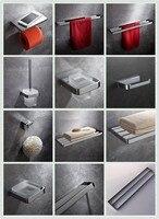 Chrome 9 частей латунь Полотенца барная стойка Ванна полка крюк робы бумаги держатель туалетной щетки Ванная комната Оборудование Аксессуары