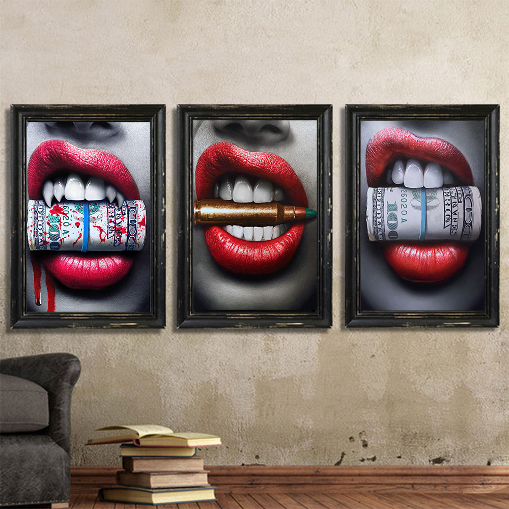 WANGART Poster Artwork Horny Crimson Lip Cash Chunk Bullet Print Wall Oil Portray Canvas Image Dwelling Room Bar Workplace Residence Decor Portray & Calligraphy, Low cost Portray & Calligraphy,...