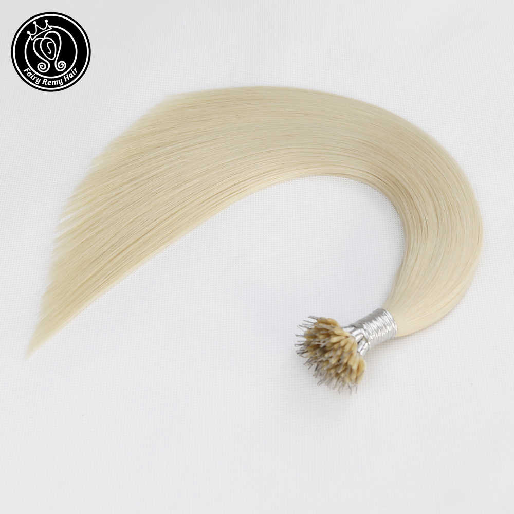 f24f20ddb7 Fairy Remy Hair 0.8g/s Real Remy Nano Tip Human Hair Extensions Platinum  Blonde #60 Double Drawn Micro Nano Ring Hair On Capsule