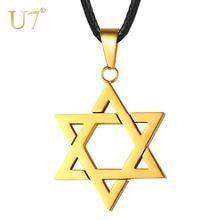 U7 ювелирные изделия еврей Звезда Давида кулон ожерелье для