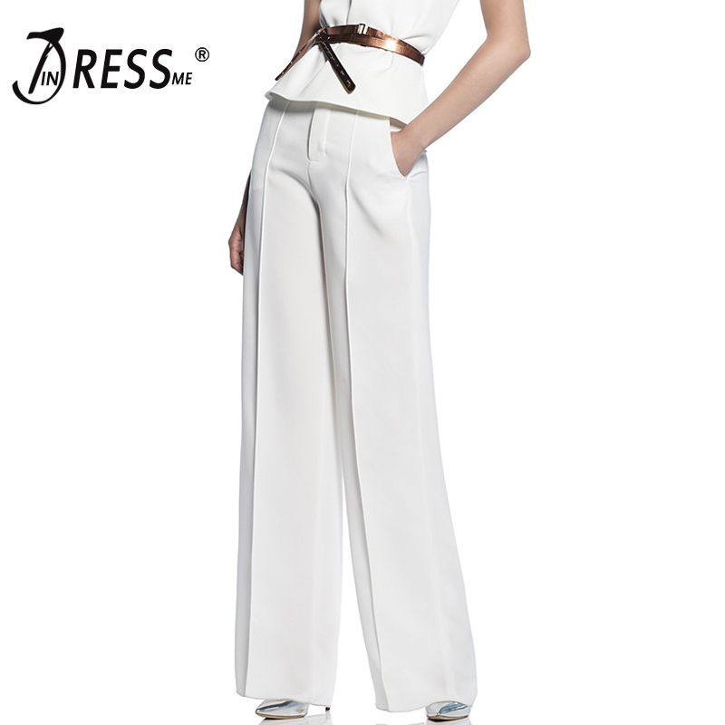 INDRESSME 2019 Summer New Collection Simple Caual Office Lady Fashion Women Zipper Fly Loose Full Length Wide Leg Pants White