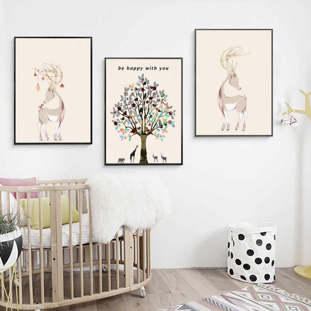 Cartoon Animal Deer Elk Girafe Tree Nursery Nordic Posters And Prints Wall Art Canvas Painting Wall Picture Baby Kids Room Decor