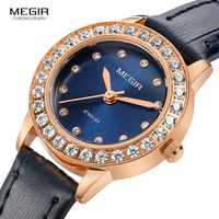 Megir Fashion Luxury Quartz Watches for Women Leather Band Simple Analog Wristwatch for Lady Relogios Clock femininos 4205 Blue