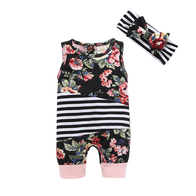 1pcs Cotton Infantil Baby Girl Rompers+Headband bowknot Set Fashion Printed stripe sleeveless Newborn Baby Clothes jumpsuits