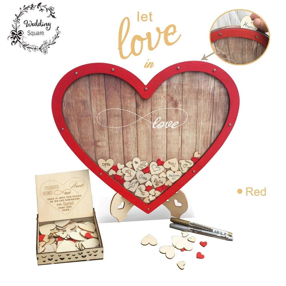 Heart shape Wedding guest book Decoration Rustic Sweet Drop box drop 3D Guest wooden