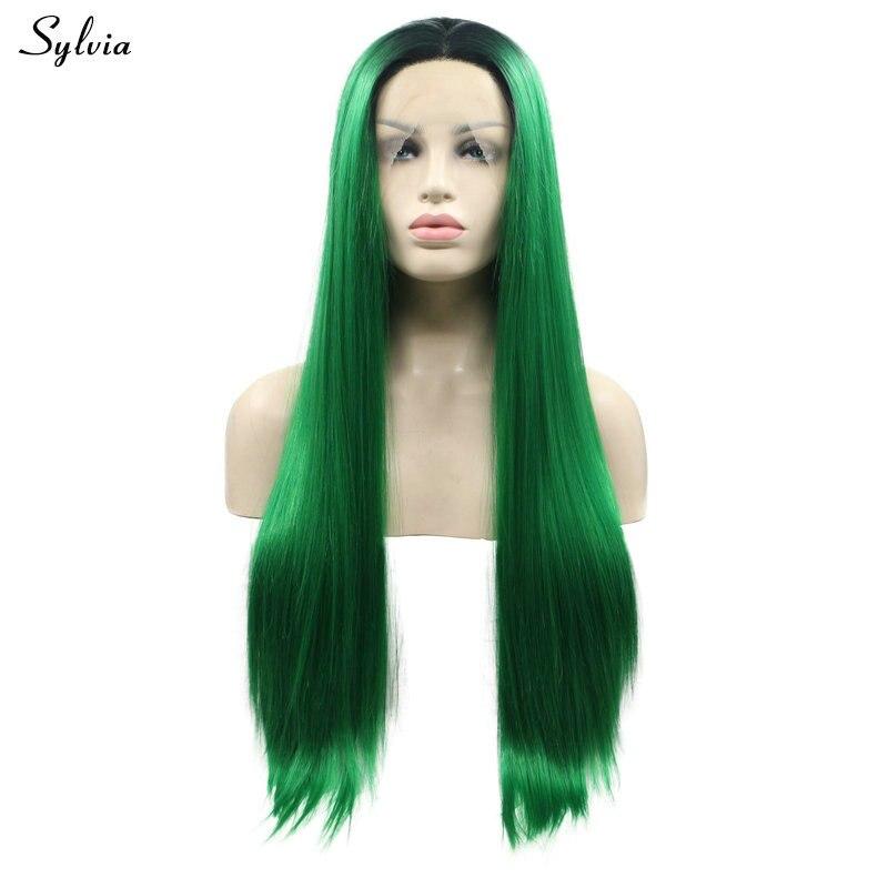 Sylvia résistant à la chaleur Cosplay cheveux forêt vert Ombre synthétique dentelle avant perruques soyeux droite vert foncé impeccable fête cheveux