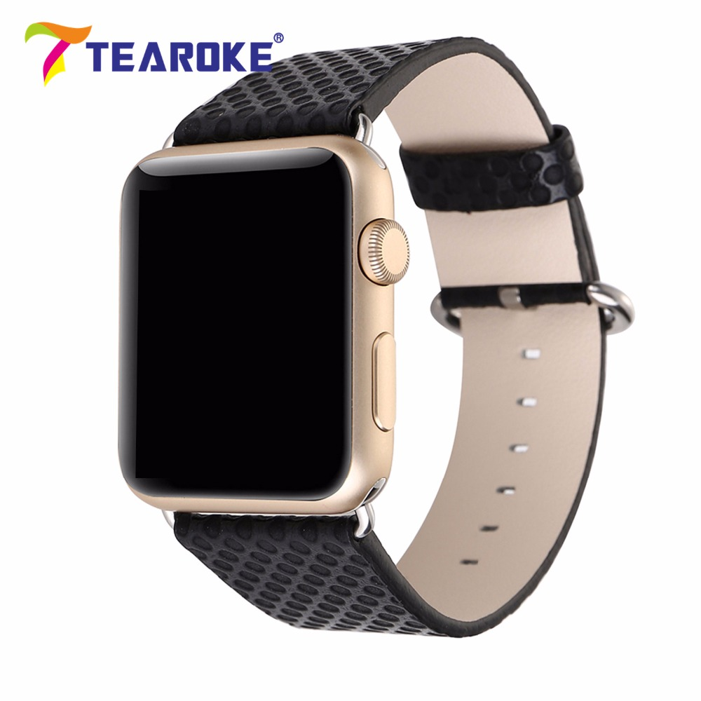 TEAROKE Leather Watchband For Apple Watch 38mm 42mm Fashion Dot Pattern Women Men Replacement Strap for iwatch 1 2 Black Red ремешок кожаный ibacks premium leather watchband для apple watch 38мм классическая пряжка ip60176 pink