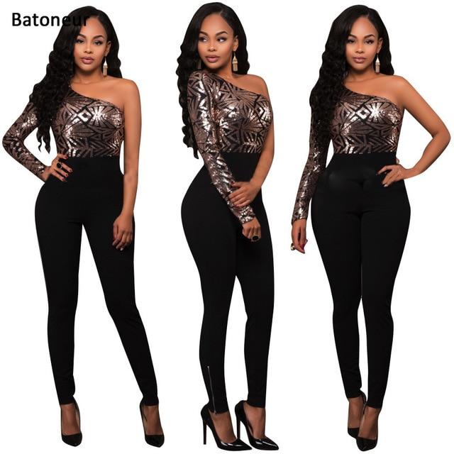 4d14fc9200d Batoneur elegant black club wear Ladies jumpsuit Long sequins shirt  splicing piece pants sexy rhinestone bodysuit