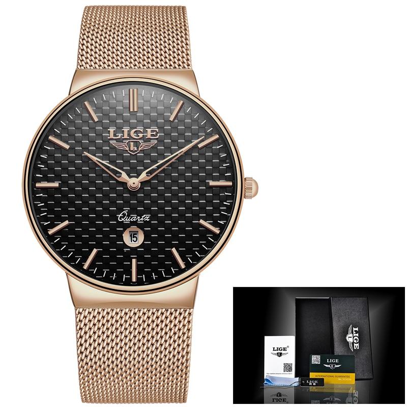 gave Ny LIGE cool Minimalistisk stil armbåndsur Rustfrit stål - Mænds ure - Foto 6