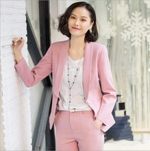 High Quality Women Pant Suits Two Pieces Set Formal Blazer and Trousers Office Ladies Work Wear Pantsuit Solid Black White Pink