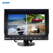 DIYKIT 9 Inch Split Quad Display Color Rear View Monitor Car Monitor For Car Truck Bus
