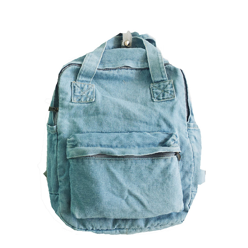 Denim Backpack Bag Travel-Bag College Student Women Mochila Casual Unisex ZQ-120 title=