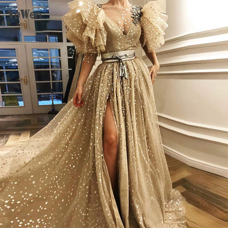 Latest Designer Luxury Sequined Sparkle   Evening     Dresses   2019 Gold Dubai Puff Short Sleeves V-Neck Sexy   Evening   YeWen