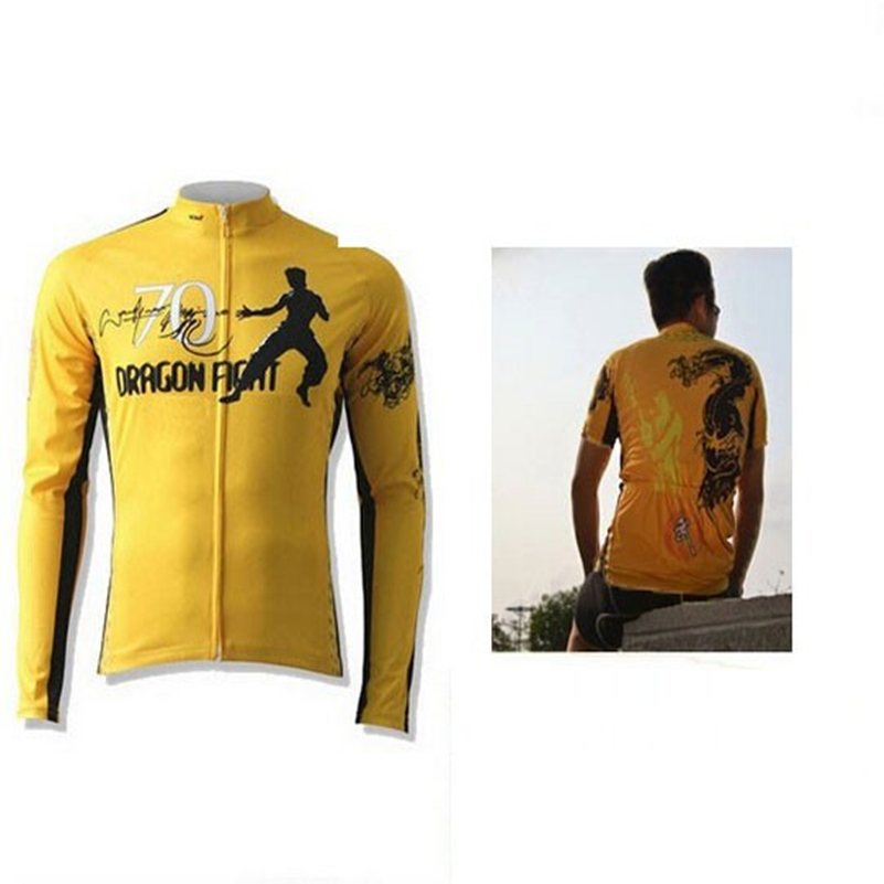Kung Fu Classic Bruce Lee Yellow Costume Ride Long Sleeve Short Sleeve Jerseys Cycling Shirt Size S-XXXL Free Shipping dark blue ripped details classic collar short sleeve men s casual denim shirt