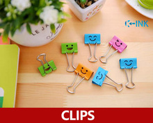 40pcs/set,19mm 3/4 Metal Smile Binder Clip , Office Paper Document Clips, Colorful Clips