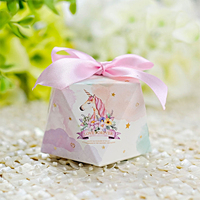 50 Pcs Diamond Candy Box Multicolor Ribbon Sweet Gift Boxes Wedding Birthday Party Favor Candy Boxes with Ribbon