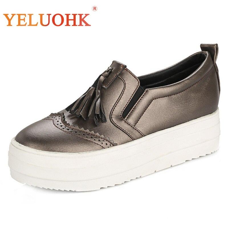 4b979af7 white Zapatos De silver On Mujeres Slip Plataforma Las Planos Tamaño Otoño  Mocasines 43 Champagne Gran ...