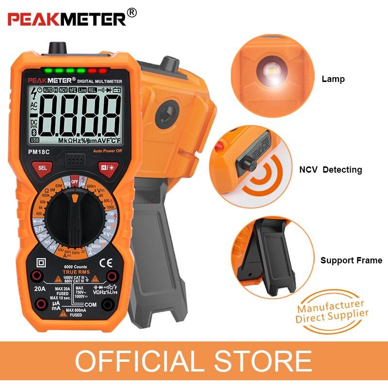 Multímetro Digital PEAKMETER PM18C verdadero RMS AC/DC voltaje resistencia medidor capacitancia frecuencia temperatura NCV probador
