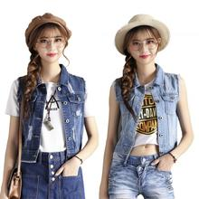 2019 New Yfashion Women Fashion Cool Sleeveless Denim Waistcoat Slim Fit Top