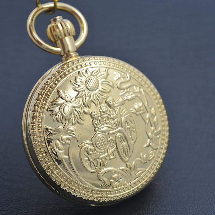 Fleur pur cuivre couverture Style Vintage remonter hommes mécanique montre de poche numéro romain cadran 5 aiguilles avec chaîne Steampunk montre