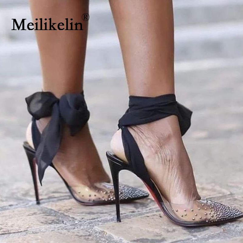 2019 new Designer Brand women's shoes sandals pointed toed stilettos high-heeled crystal sandals Silk scarf white wedding shoes