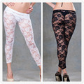TB208 Pure black white ver através 2016 aptidão leggings transparentes sexy leggings para as mulheres oco out sexy lace leggings
