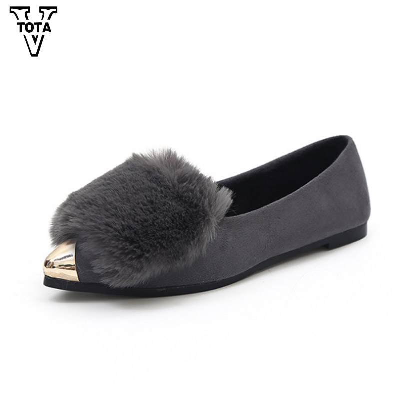 VTOTA Brand Women Winter Shoes Faux Fur Pointed Toe Flat Slip on Women Flats High Quality Woman Loafers Elegant Women Shoes WNM top quality women flats genuine leather slip on women pointed toe loafers brand oxford shoes for women flat shoes ladies shoes