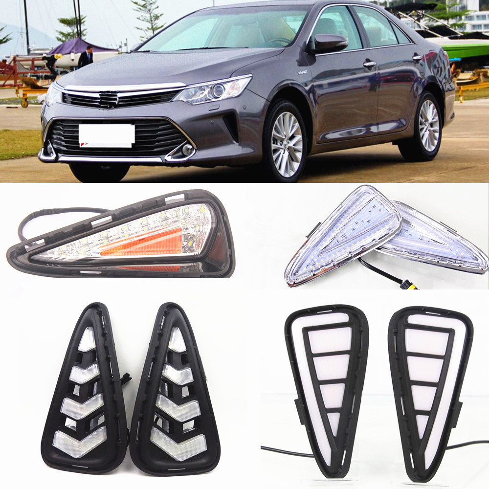 CSCSNL 1 Set LED DRL Daytime Running Lights Daylight Fog Lamp Cover With Yellow Turning Signal