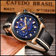 цена на LIGE New Brand Sport Men Watch Top Brand Luxury Male Casual Leather Waterproof Chronograph Quartz Military Wrist Watch Men Clock