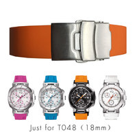 18mm Silicone Rubber Watch Band Strap Bracelet For T RACE T SPORT T048 Series Watch Motorcycle