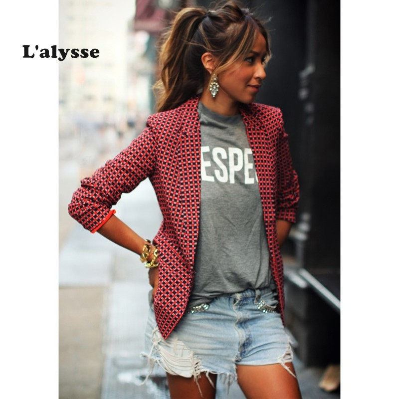 LALYSSE Plus Size 2xl Women Plaid Blazers Fashion Casual Long-sleeved Coat Red One Button Lapel Plaid Small Suit Female Blazers