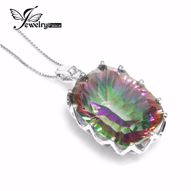 23ct Natural Mystic Rainbow Topaz Pendent Charm Women Jewelry Solid Genuine 925 Sterling Silver 2016 Fashion Gem Luxury Brand