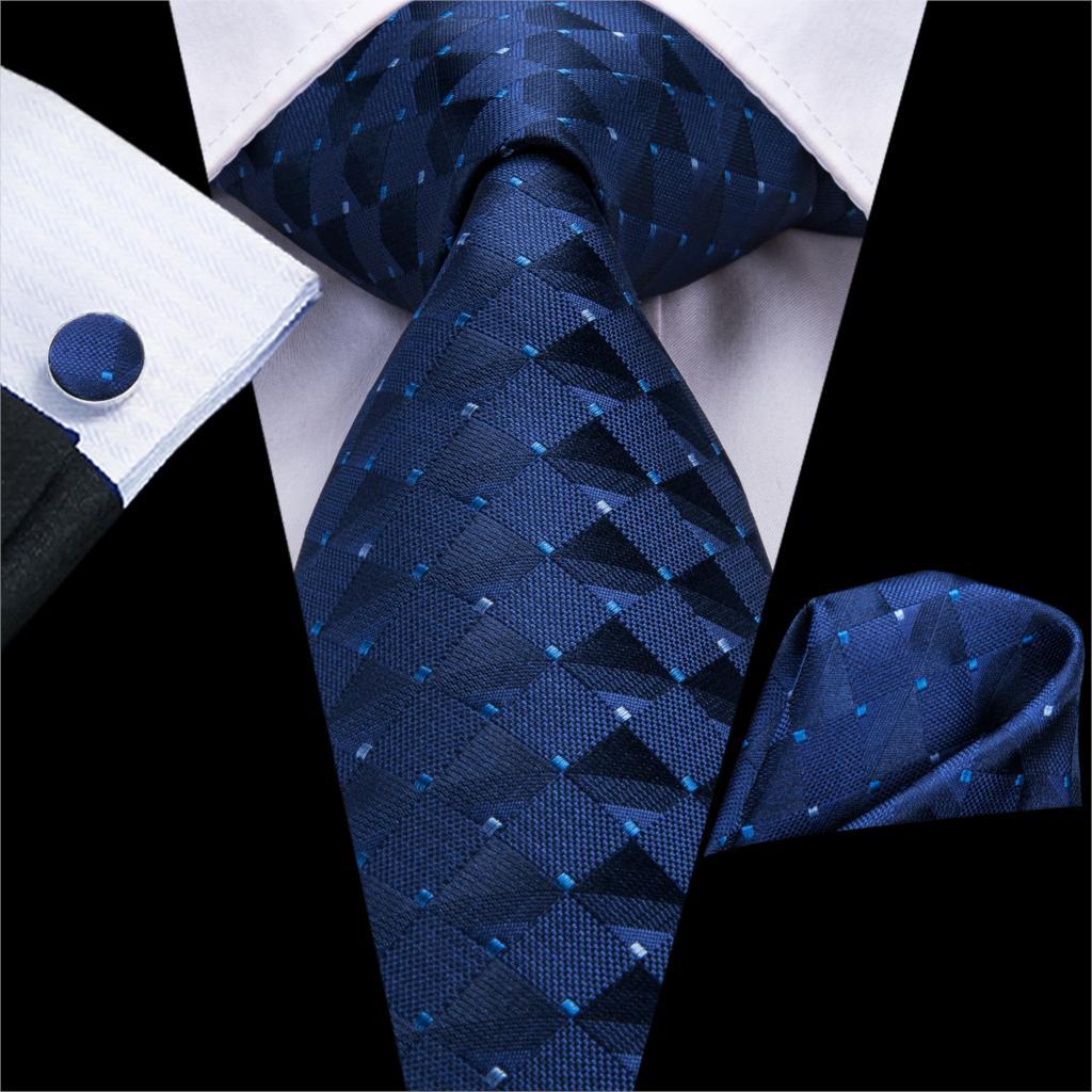 Men Blue Ties Plaid Silk Woven Necktie Checked Neck Tie Hanky Cufflinks Set Ties Gift For Wedding Party Business Hi-Tie C-3525