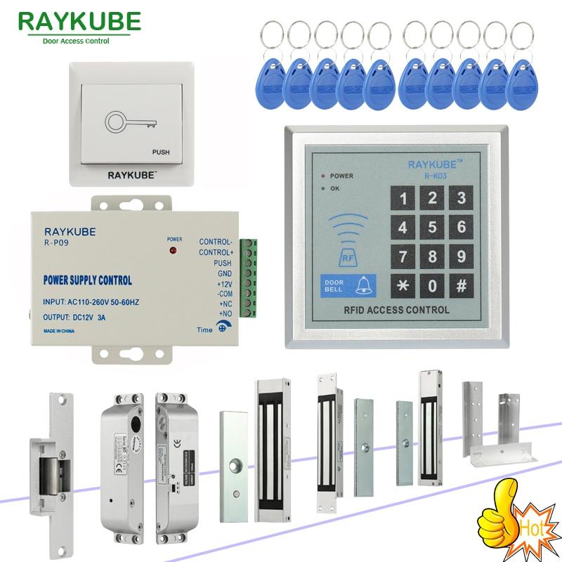 RAYKUBE RFID Kit de sistema de Control de acceso con bloqueo electrónico Contraseña teclado y lector de RFID Kit de bricolaje para la seguridad de la puerta