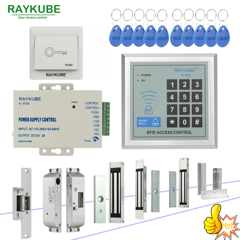 RAYKUBE RFID Access Control System Kit Set With Electronic Lock Password Keypad & RFID Reader DIY Kit For Door Security diysecur rfid keypad door access control security system kit electronic door lock for home office b100