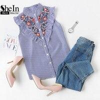 SheIn Sleeveless Top Women Summer Women S Blouses Tops Blue Striped Ruffle Trim Embroidered Band Collar