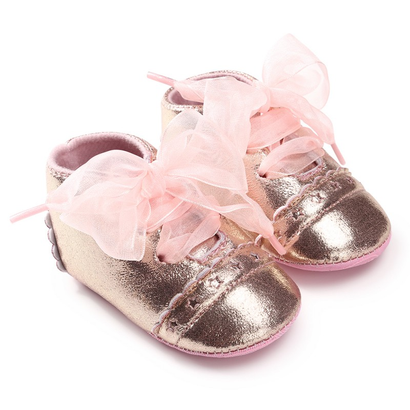 Baby Girl Shoes Lace Flower Bow Tie Baby Shoes Toddler Anti-slip Soft Sole Baby First Walker
