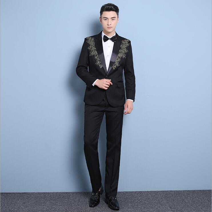 Mens Formal Single Buttons Suits Slim Fit Work Wedding Suits For Men S-XXL All-seasons Clothes Male Black Suit (suit+pants)