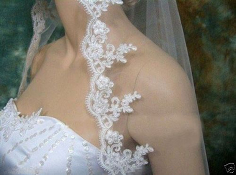 White Ivory Women Wedding Veil Lace Short One Layer 75*145 CM Elbow Length With Comb Bridal Wedding Accessories 2018