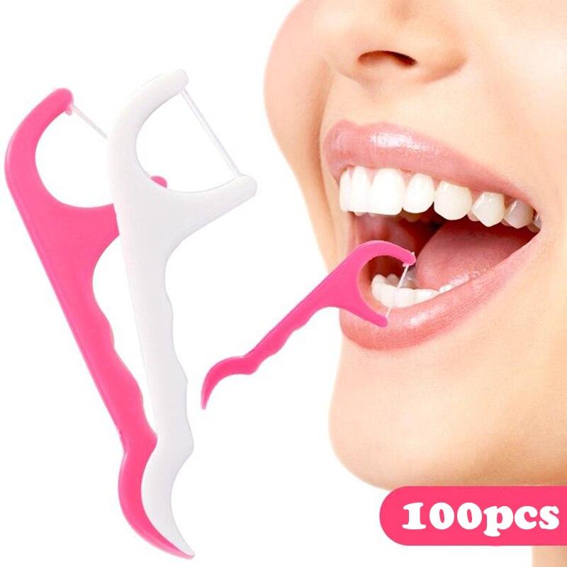 100pcs Bow-shaped ultra-fine dental floss rod teeth cleaning line dental care flat line teeth toothpick Interdental Brush Stick