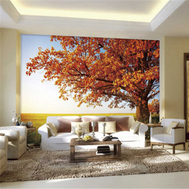 Custom 3D Print DIY Fabric &Textile Wallcoverings For Walls Manuel Nature Cloth Matt Silk For Living Room Scenery Sky Tree Good