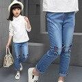 Meninas 2017 Nova Primavera Skinny Jeans Infantil Moda Infantil Impressão Dos Desenhos Animados Impresso Algodão Jeans Para Meninas Altura 110-160 cm