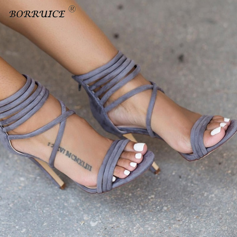 High-heeled Shoes Women Rome Sandals Zipper Candy Color Hollow Cross Straps Foot Ring Straps Suede High Heels Zipper Sexy Shoes