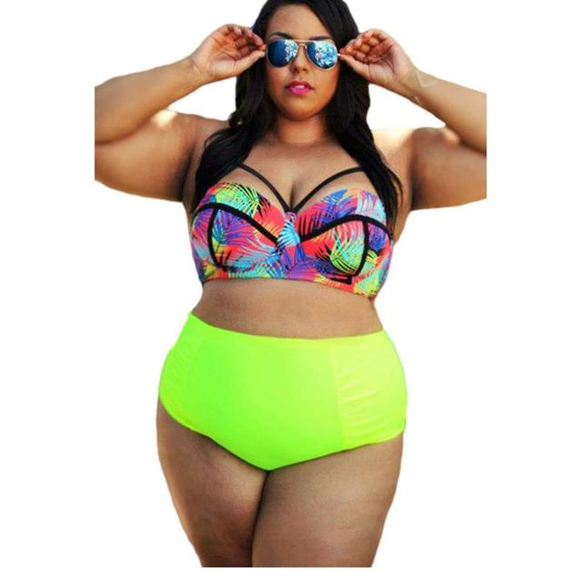 5e7df32b0b Swimwears Plus Size Womens Swimsuits Sexy Bikini Curvy Girl Tropical Style  High Waist Bathing Suits 2 pcs Traje De Bano Mujer